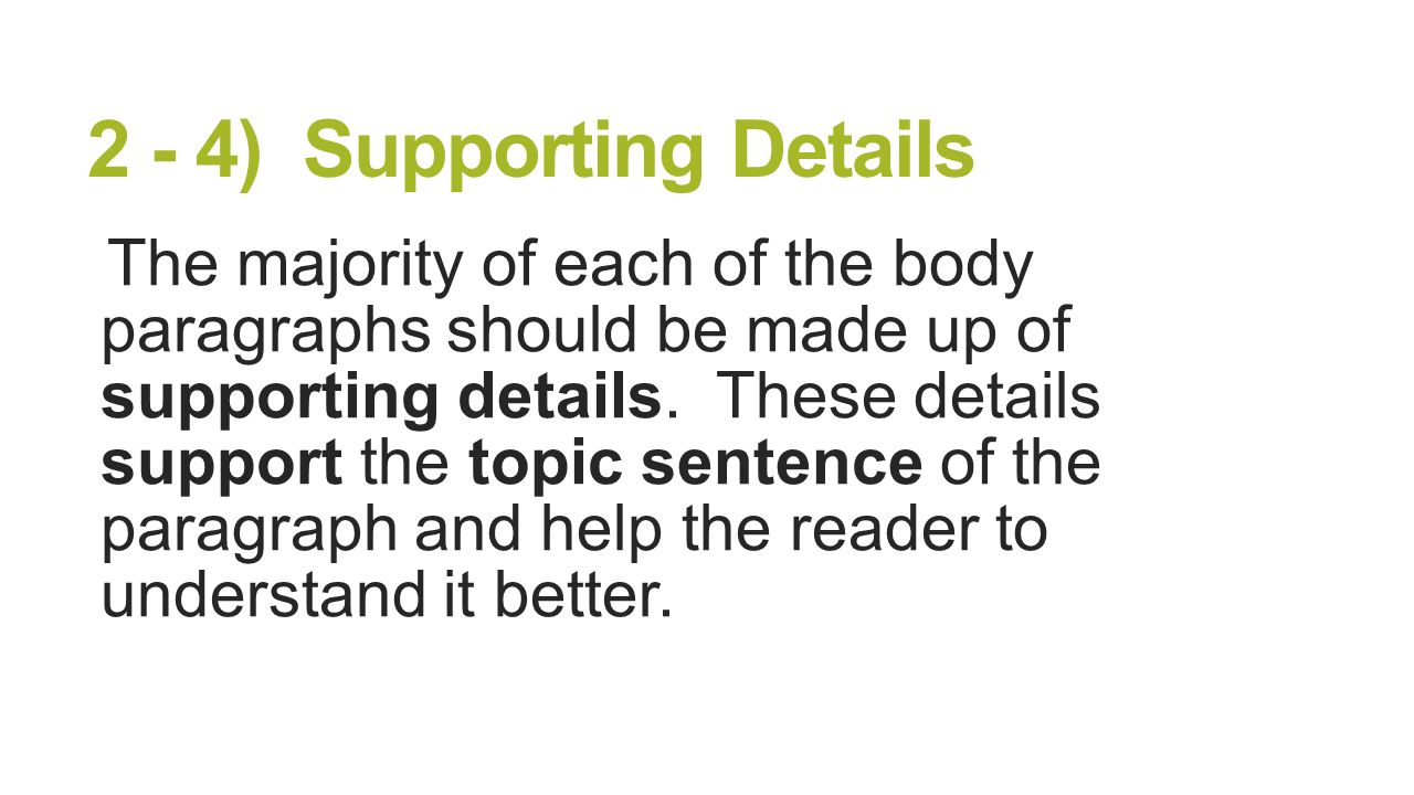 Essay supporting details