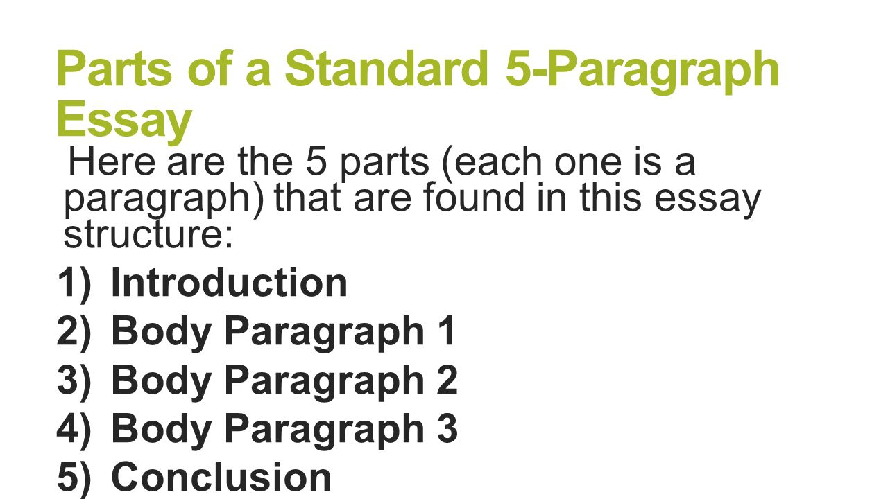 parts of 5 paragraph essay