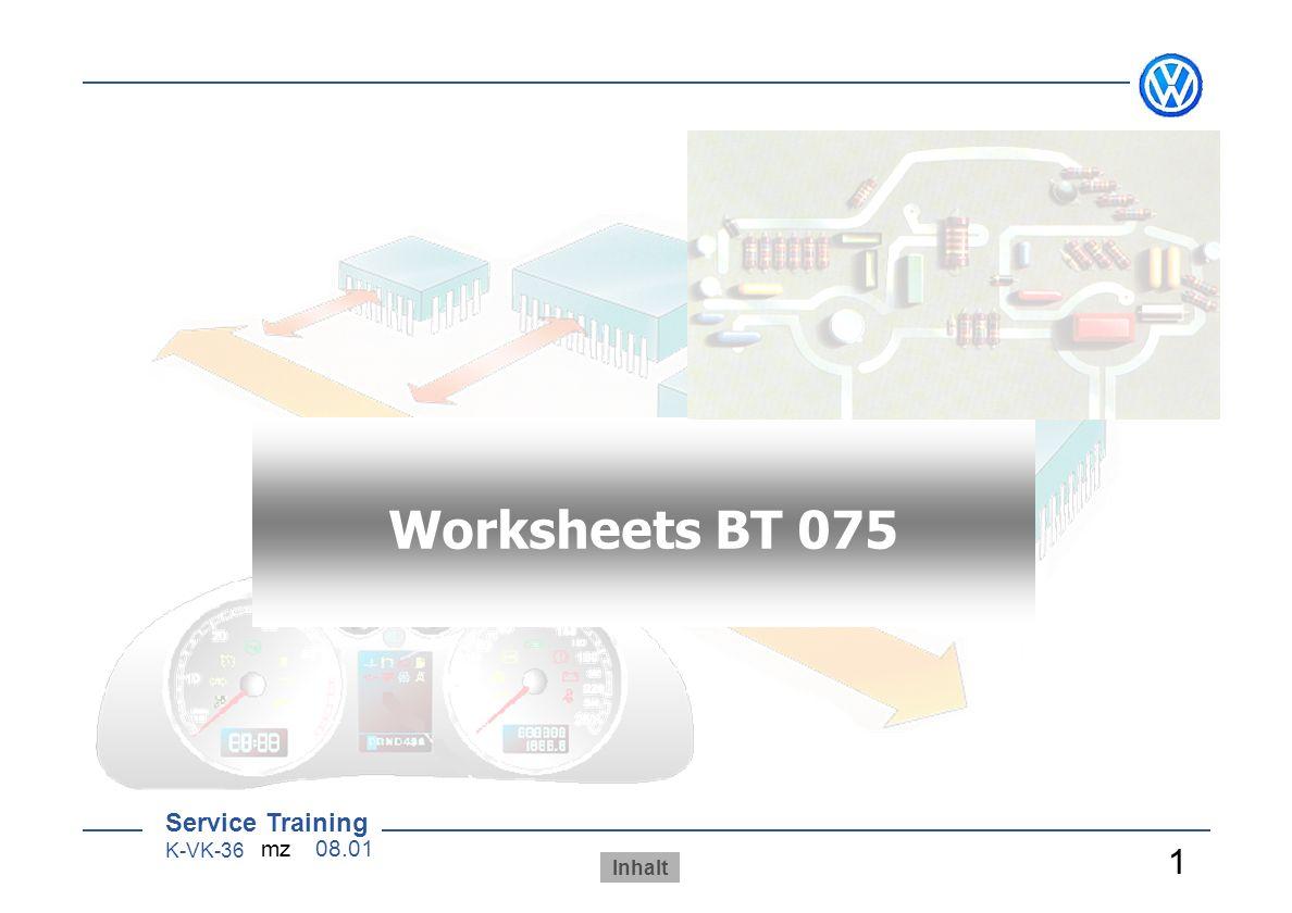 AB 070 Worksheets BT 075 Arbeitsblätter 1 Sensoren/ Aktoren