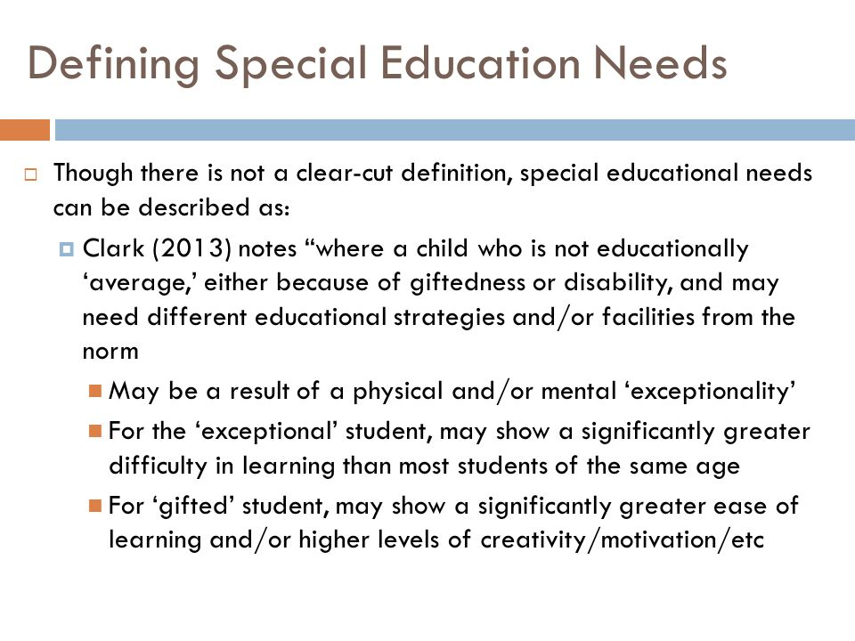 a study on special needs children and gifted children Or exceptional learning needs in every classroom, some youngsters show a  pattern of  students who are gifted and disabled are at risk for not achieving  their.