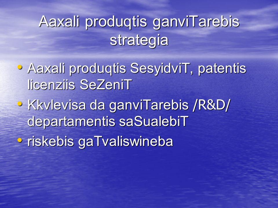 Aaxali produqtis ganviTarebis strategia