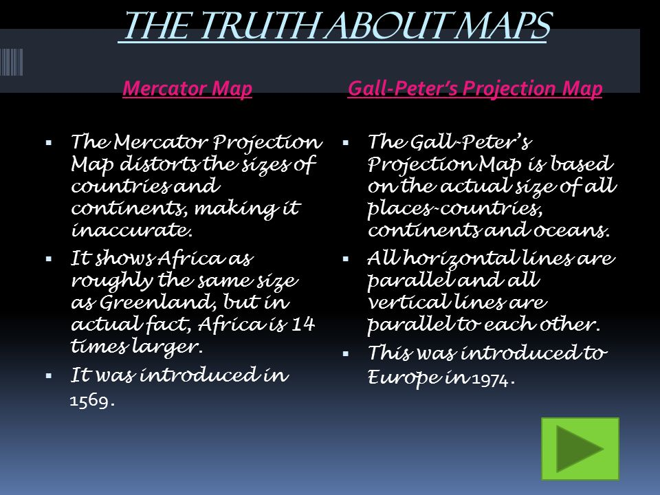 The Truth About Maps Mercator Map Gall Peter's Projection Map