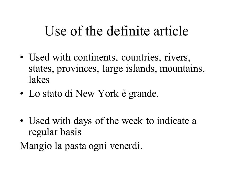 Use of the definite article