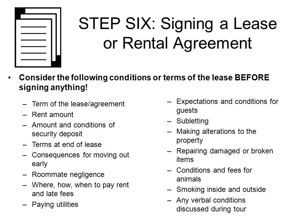 Steps to renting your first apartment ppt download step six signing a lease or rental agreement platinumwayz