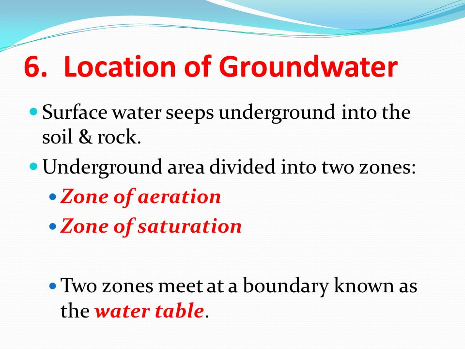 The Location Of Water Table Is Subject To Change