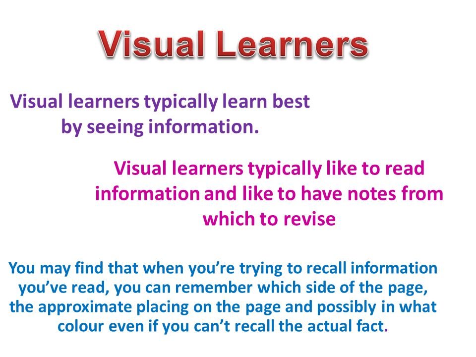 visual learners Visual thinking, also called visual/spatial learning or picture thinking is the phenomenon of thinking through visual processing visual thinking has been described as seeing words as a series of pictures.