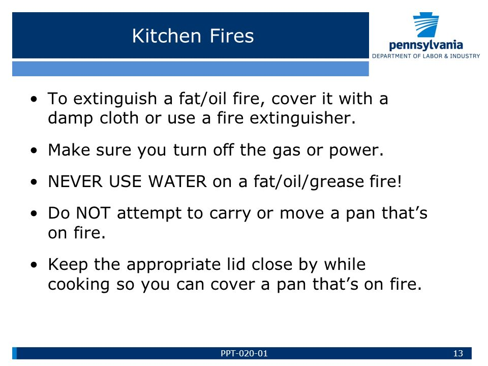 how to put off fire in the kitchen