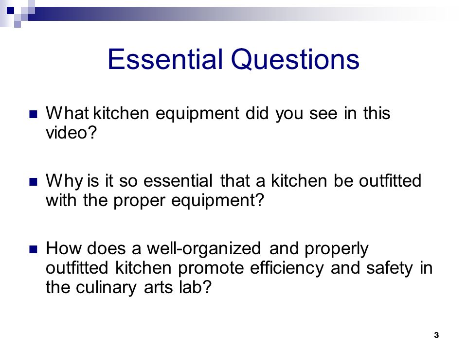 Essential Questions What Kitchen Equipment Did You See In This Video Part 98