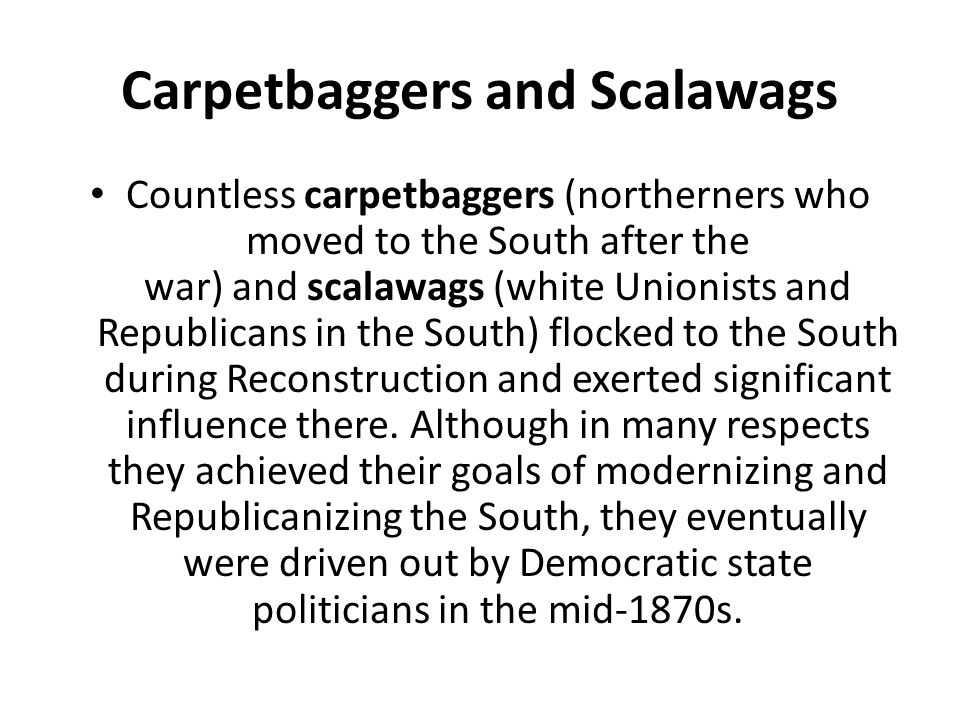 essay about carpetbaggers Carpetbaggers, cavalry, and the ku that the papers of that section reconstruction carolina ku klux carpetbaggers cavalry citizens civil rights.
