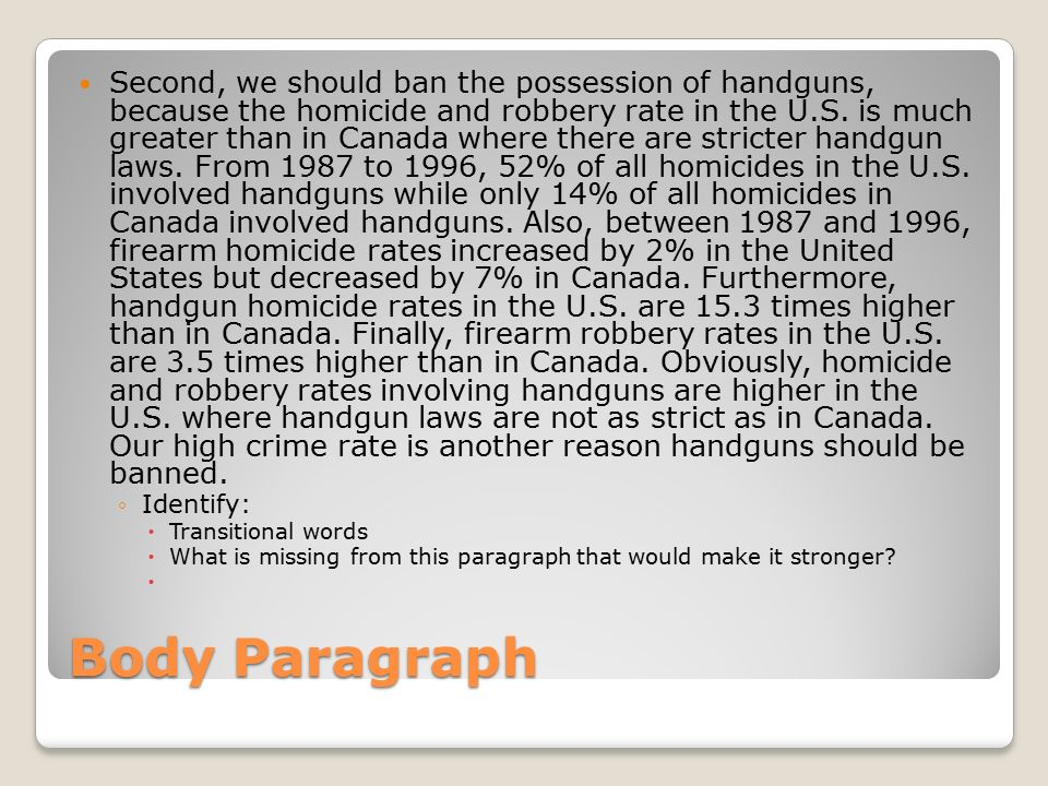 handguns should be banned essay Here's another 10 intelligent and obvious reasons (adding up to the other 40 reasons) why guns should be banned: 1) guns are used in self-defense over 2.