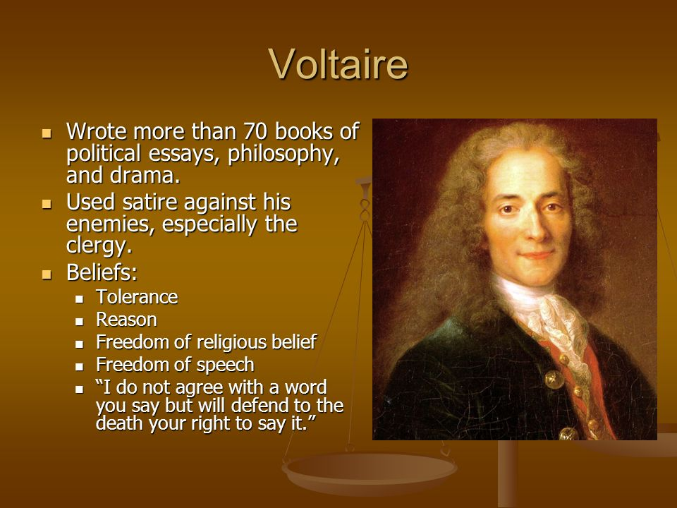 essay voltaire and the enlightenment Voltaire's influence is palpably present, for example, in kant's famous argument in his essay what is enlightenment that enlightenment stems from the free and public use of critical reason, and from the liberty that allows such critical debate to proceed untrammeled.