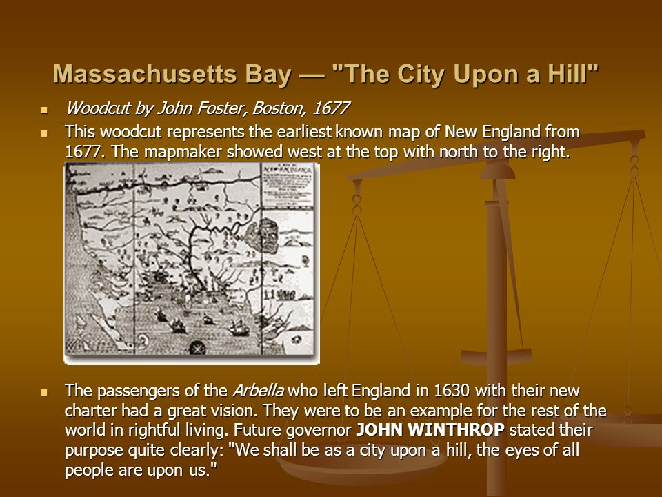 """a city upon a hill by john winthrop essay John winthrop was born on january 12 in gorton, england he was a wealthy englander who ruled as governor for twenty years however he is known for his writings and most of all his vision of the colony as a """"city upon a hill."""