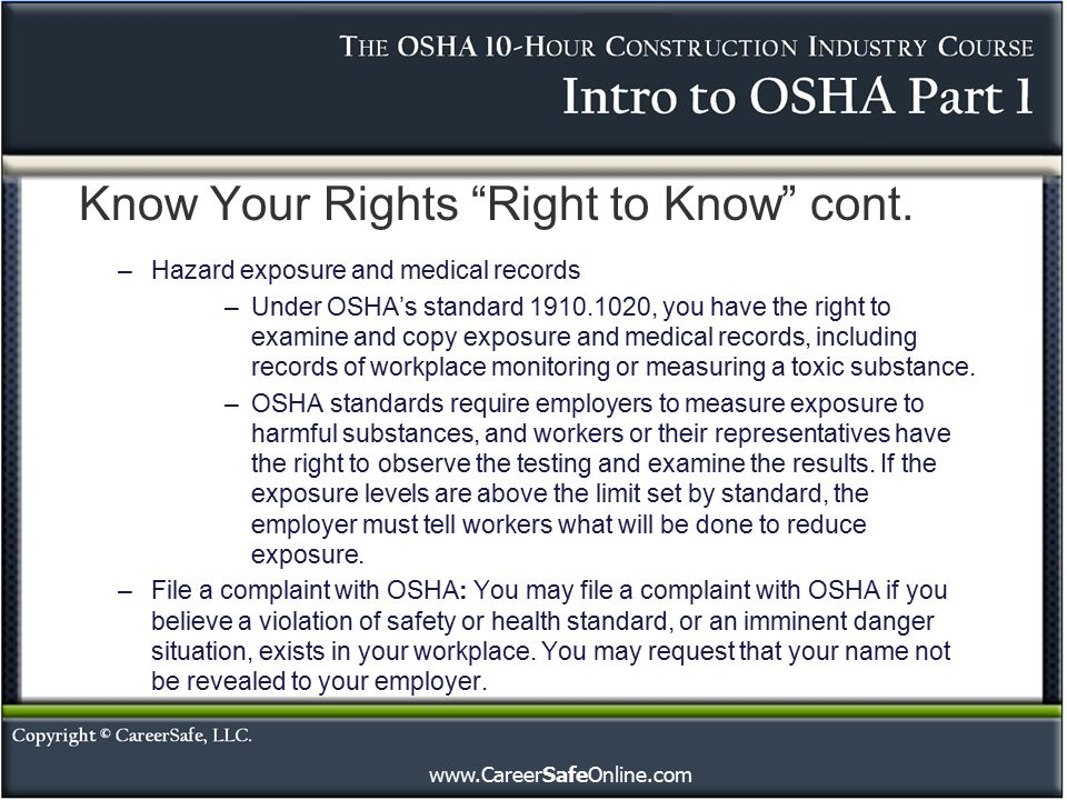 Understand That The Right To: Introduction To OSHA (Part 1)