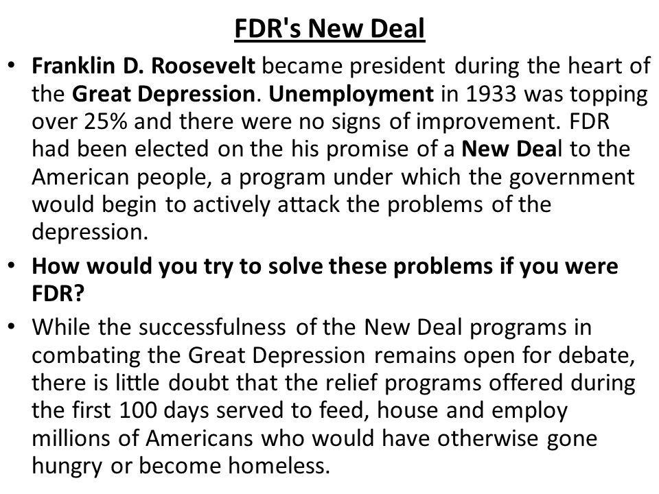 did the new deal solve the The aggregate effect of the myriad new deal programs implemented during the 1930s during the presidency of franklin d roosevelt was to help lift the united states out of the depths of the great.
