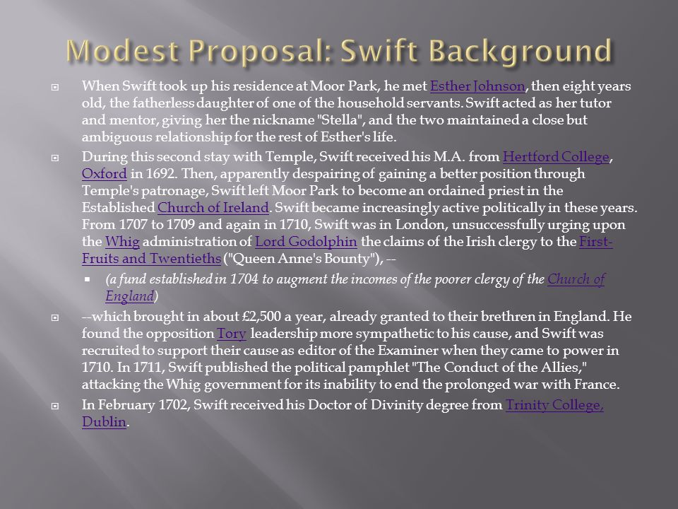 dr swifts proposal to end the savagery in ireland Analysis in a modest proposal, swift vents his mounting aggravation at the ineptitude of ireland's politicians, the hypocrisy of the wealthy, the tyranny of the english, and the squalor and degradation in which he sees so many irish people living.