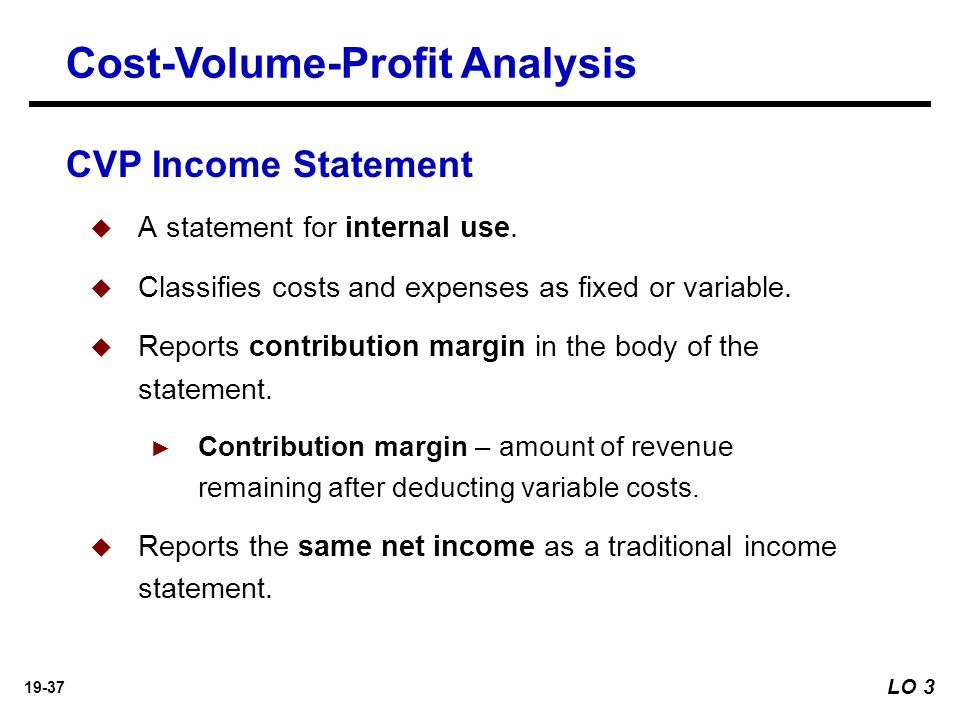 CostVolumeProfit Learning Objectives  Ppt Download