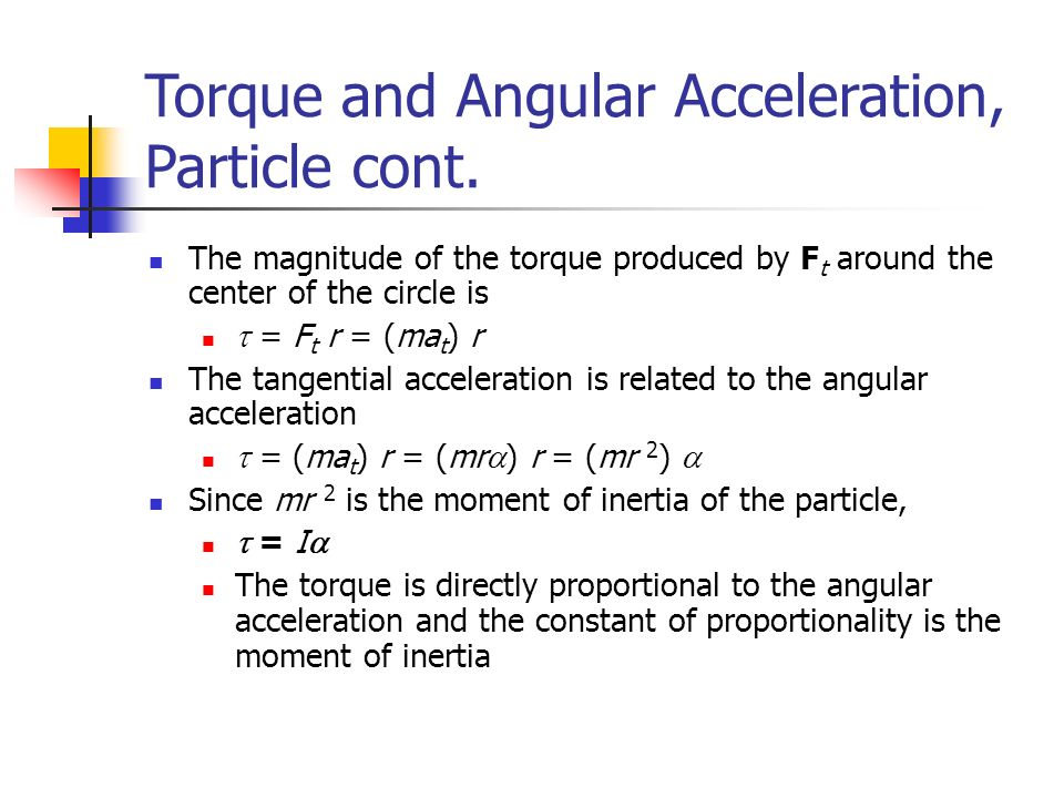 torque and angular acceleration You can calculate the amount of torque required to accelerate the object, say from rest to a certain angular velocity your question is a bit unclear if you want to determine what the angular velocity of a rotating object, that can be accomplished by using a stroboscope or timing light.