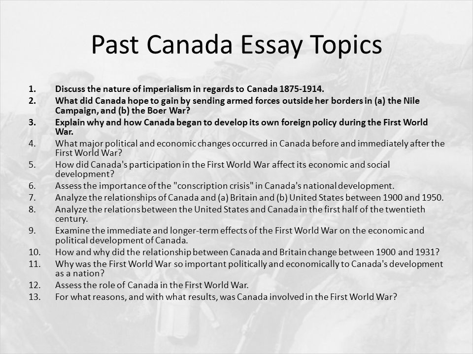 "assess the role of canada in the first world war essay ""assess the role of canada in the first world war"" looking back at the first world war , people often remember the assassination of the archduke franz- ferdinand, the two- front war and the schlieffen plan, and the domination of trench warfare."