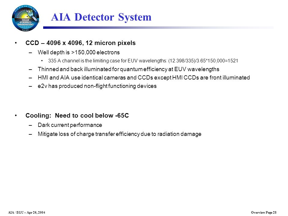 AIA Detector System CCD – 4096 x 4096, 12 micron pixels