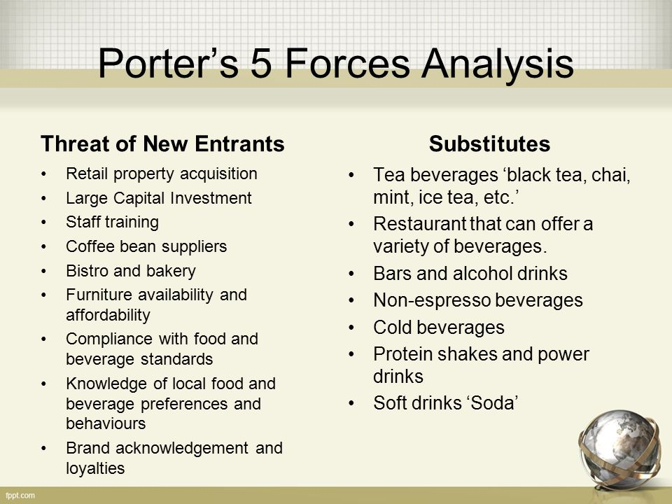 porter s 5 forces on beverage industry In this article, we will look at 1) understanding suppliers, 2) bargaining power of suppliers, 3) effect on target market, 4) example - the diamond industry, and 5) example - the fast food an important force within the porter's five forces model is the bargaining power of suppliers.