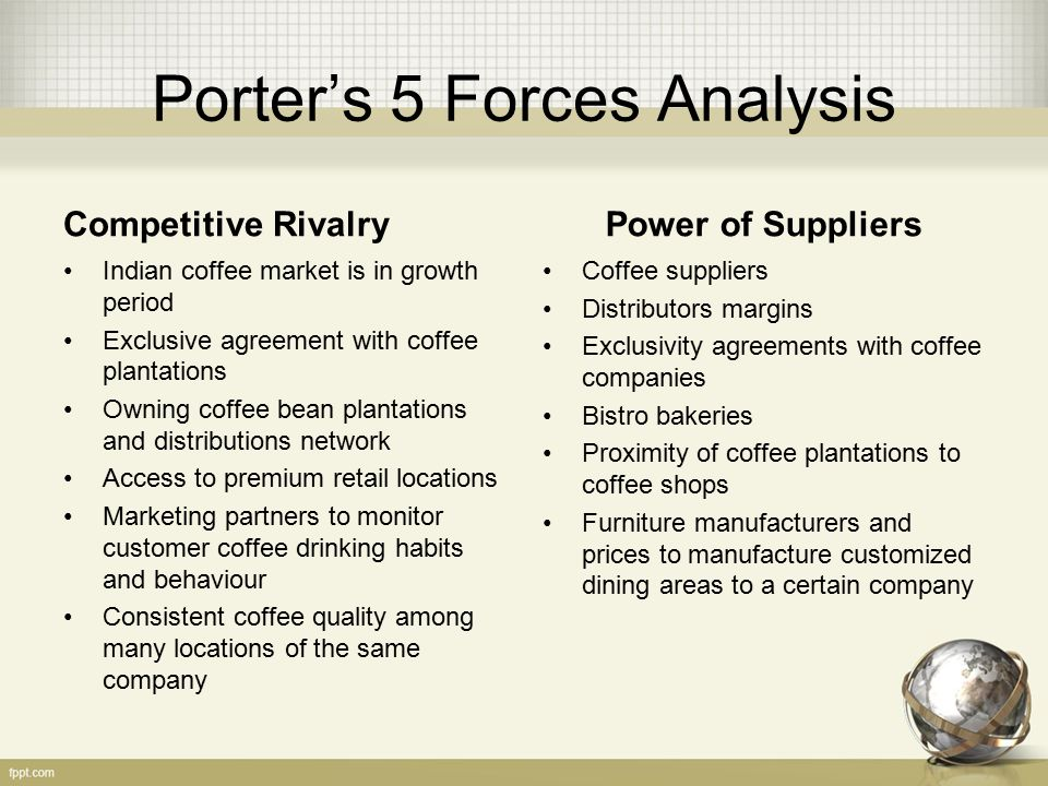 instant coffee porter analysis Porter's five forces analysis is a framework that helps analyzing the level of competition within a certain industry it is especially useful customers can easily compare prices online, get information about a wide variety of products and get access to offers from other companies instantly companies can.