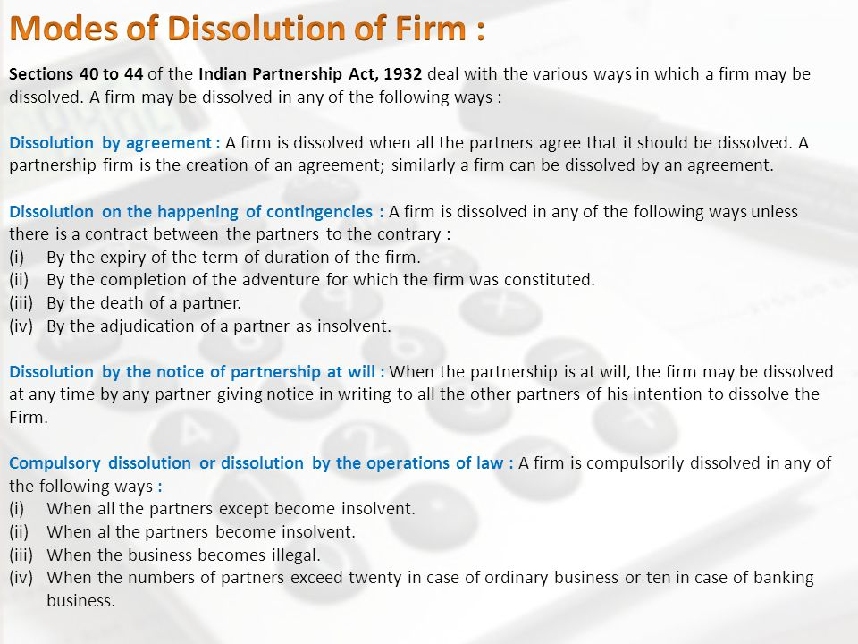 Partnership Accounts Dissolution Insolvency Sale To A Company