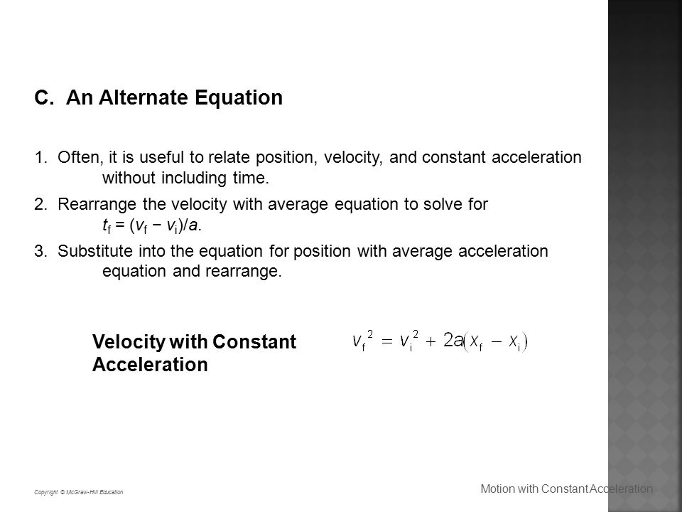 how to find velocity without acceleration
