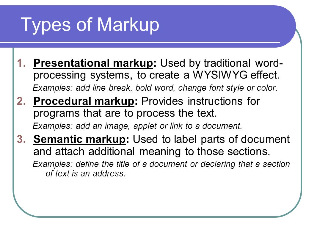 How To Add A Line Break In Word Types Of Markup Presentational Markup Used  By Page