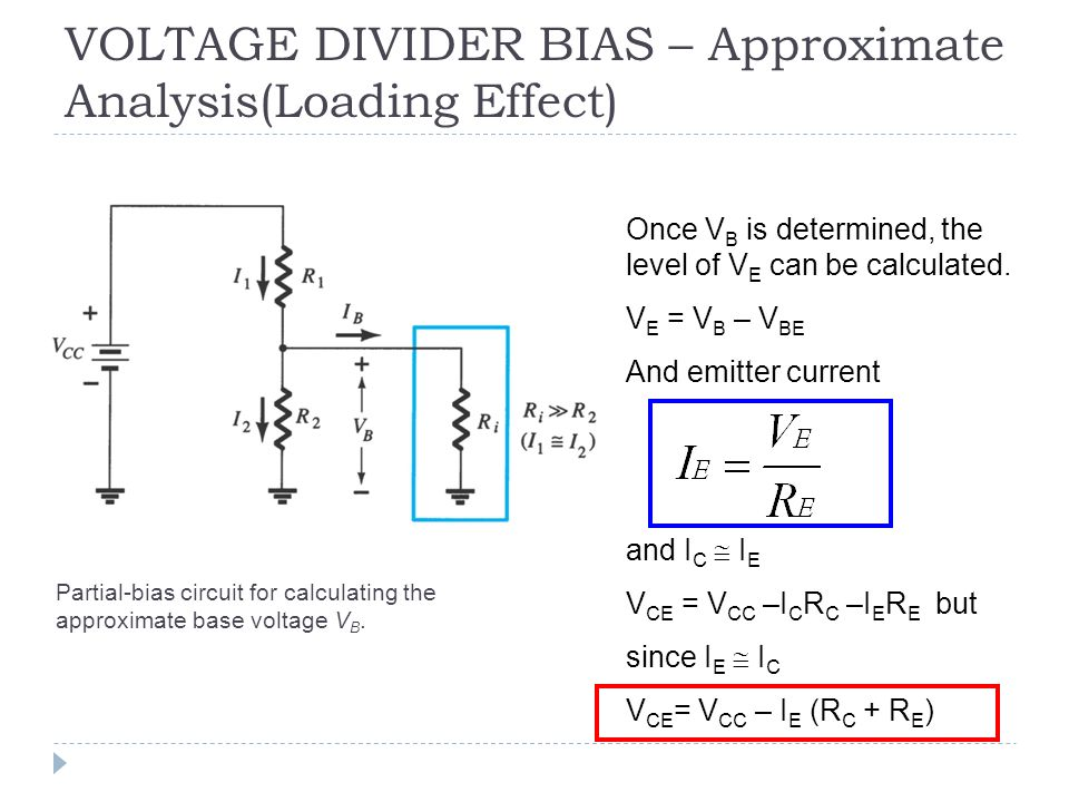 specifications and procedure of a voltage divider bias of a bjt transistor To bias a transistor, a constant dc current must be established in the collector and emitter the base is supplied with a fraction of the supply voltage vcc through the.