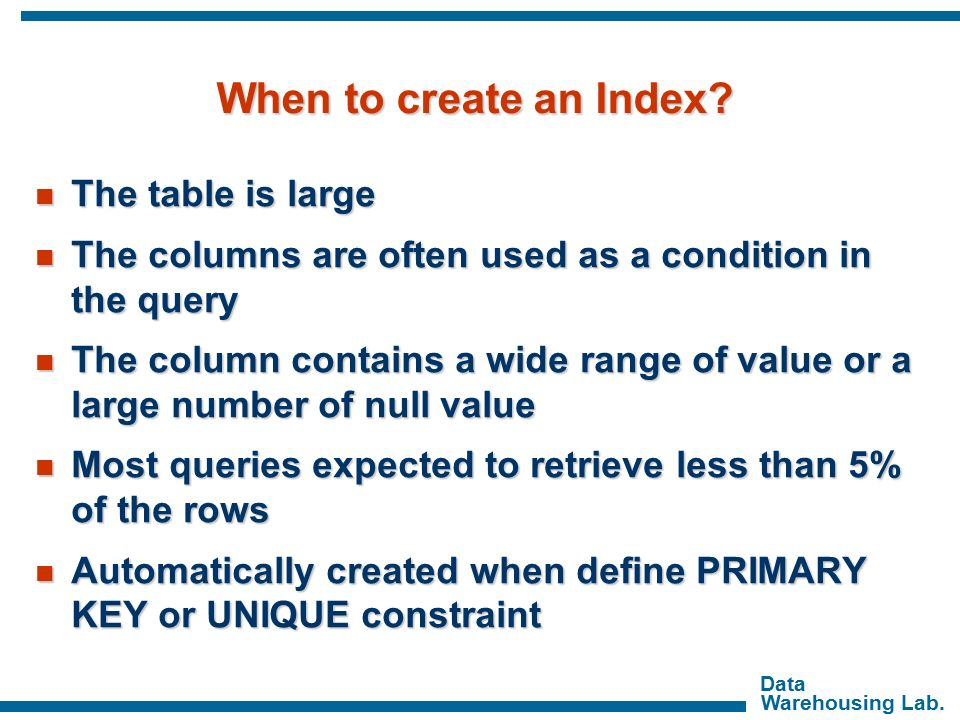 how to create an index
