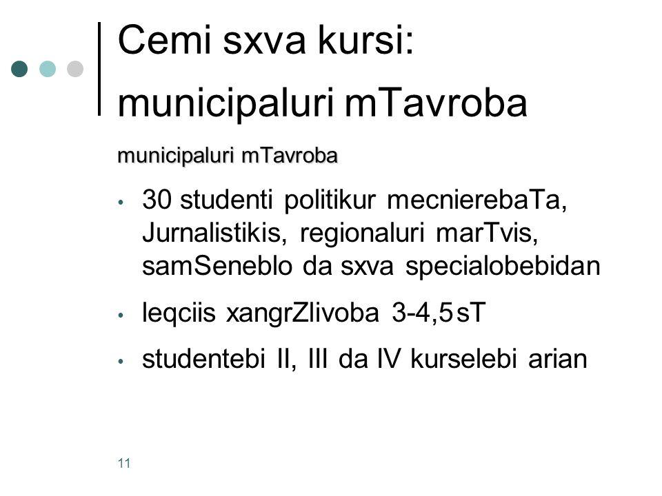 Cemi sxva kursi: municipaluri mTavroba