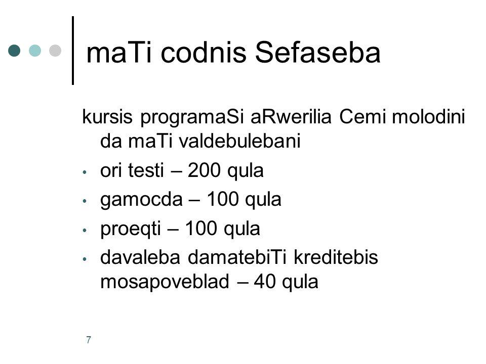 maTi codnis Sefaseba kursis programaSi aRwerilia Cemi molodini da maTi valdebulebani. ori testi – 200 qula.