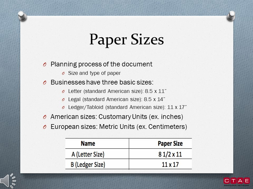 Paper types and sizes paper type and sizes ppt video for Letter paper size in inches