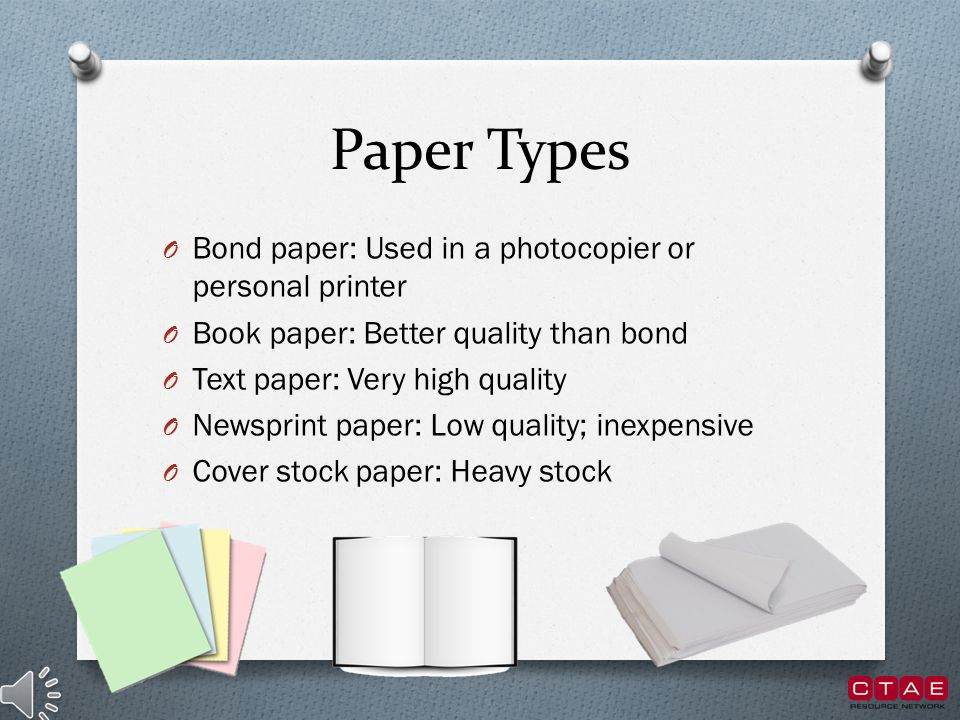 Types Of Book Cover Paper : Paper types and sizes type ppt video