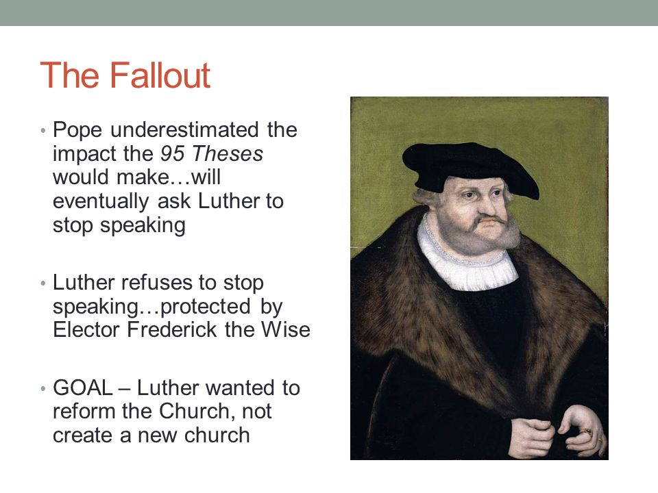 what were the 95 thesis The purpose of luther's 95 theses was: the ninety-five theses were a series of propositions dealing with indulgences which martin luther drew up as.