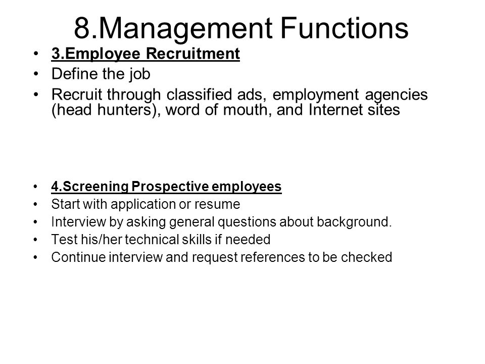 ten managerial functions