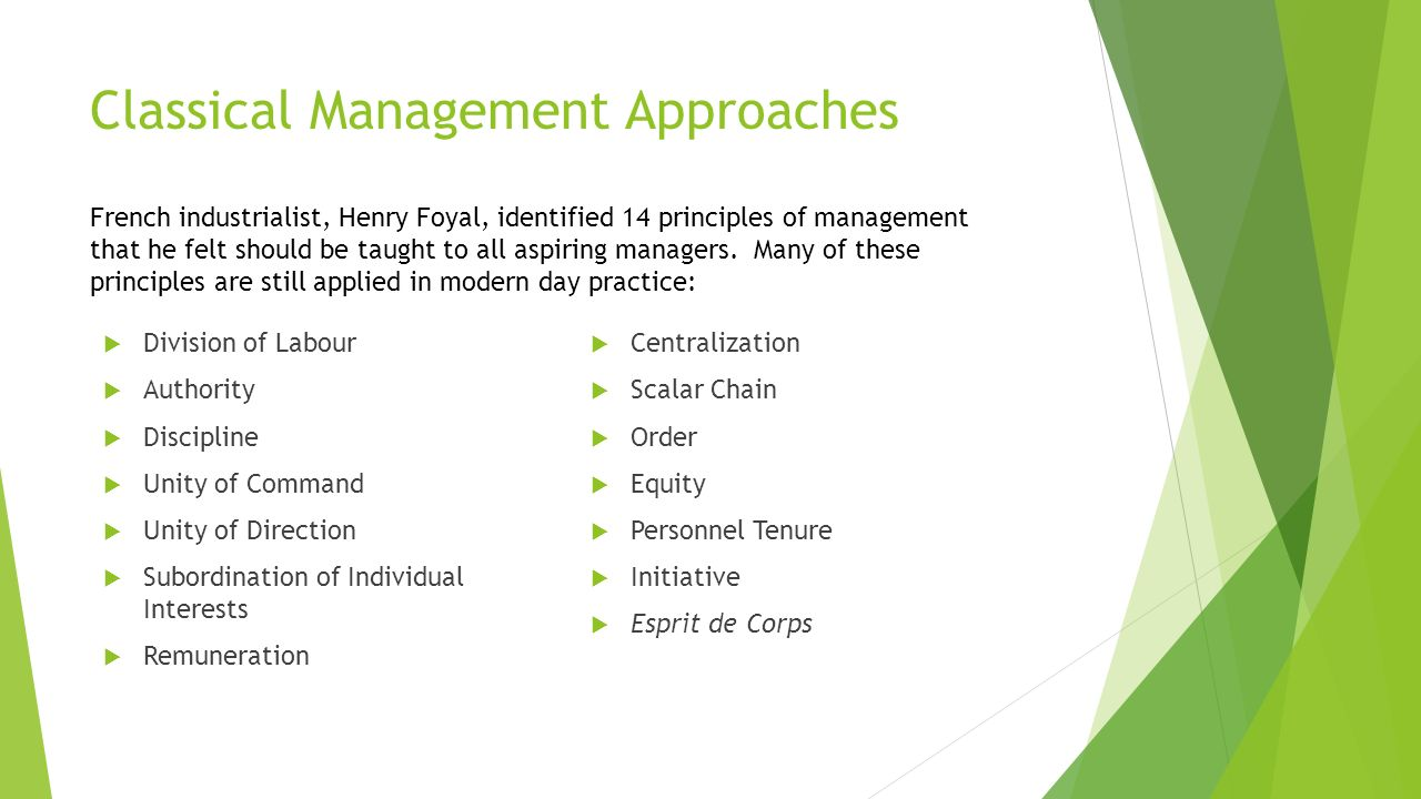 classical management approach evident in zara The history of management thought can be grouped into three basic approaches: classical approach to management theory, behavioural approach to management theory.