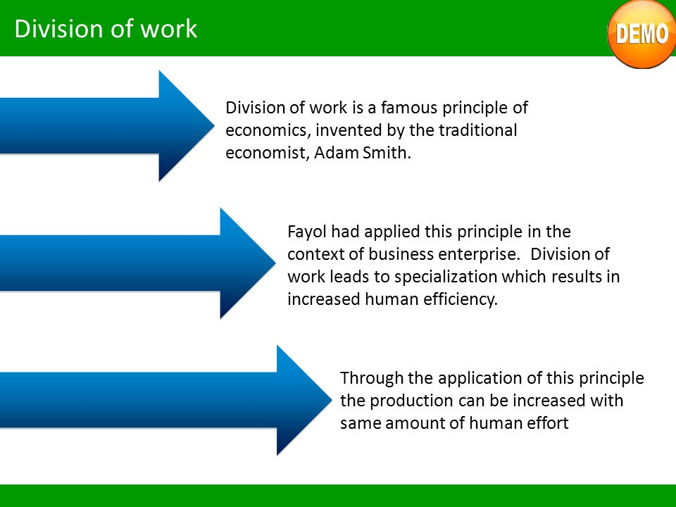 Division of work Division of work is a famous principle of economics, invented by the traditional economist, Adam Smith.