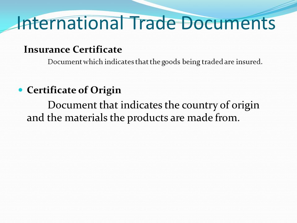 BUSINESS DOCUMENTS OBJECTIVES What is a business document ppt – Country of Origin Document