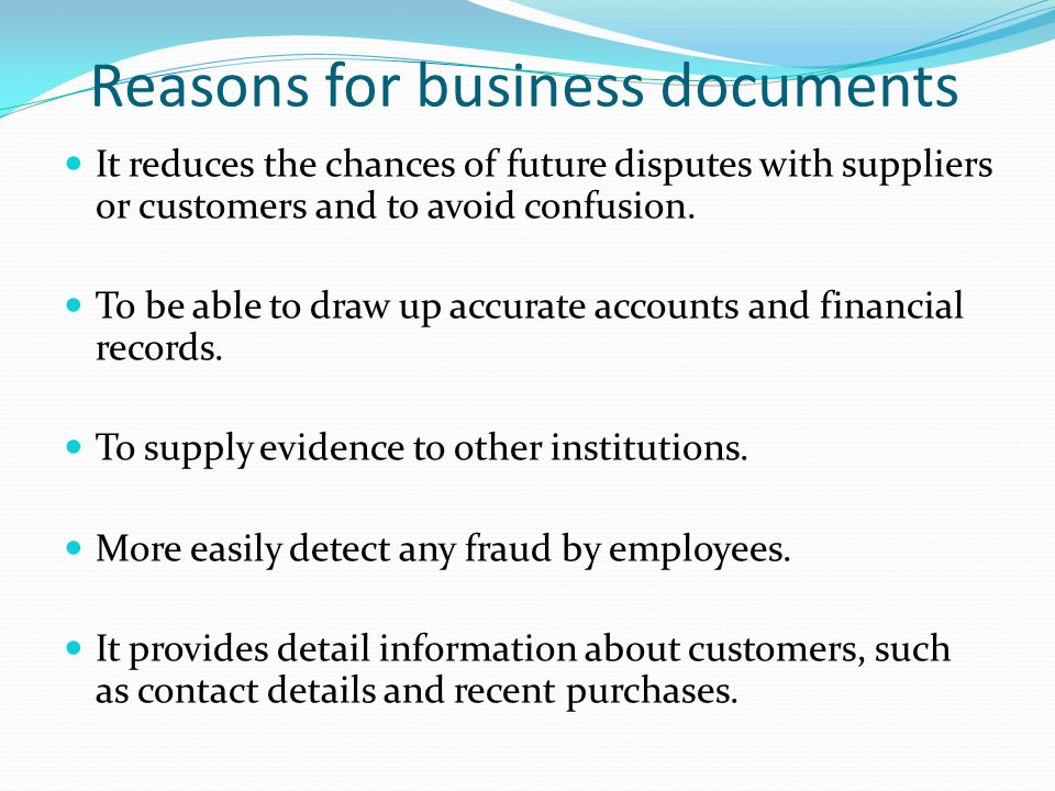 reasons for business documents - Business Documents