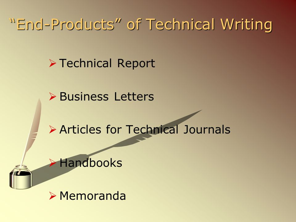 end products of technical writing and their definition
