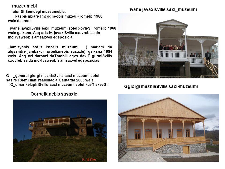 raionSi Semdegi muzeumebia: ivane javaxisvilis saxl_muzeumi