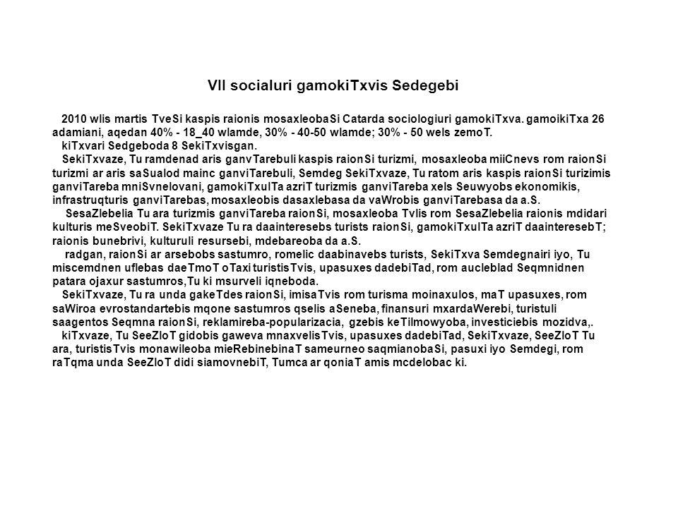VII socialuri gamokiTxvis Sedegebi