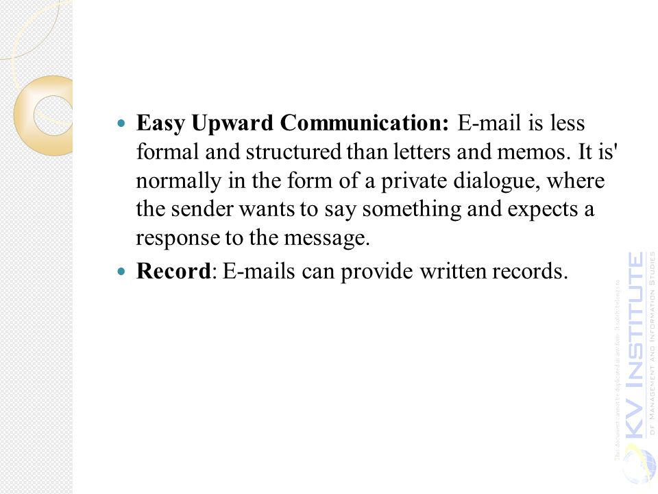 Easy Upward Communication: E Mail Is Less Formal And Structured Than Letters  And Memos  Inter Office Communication Letter
