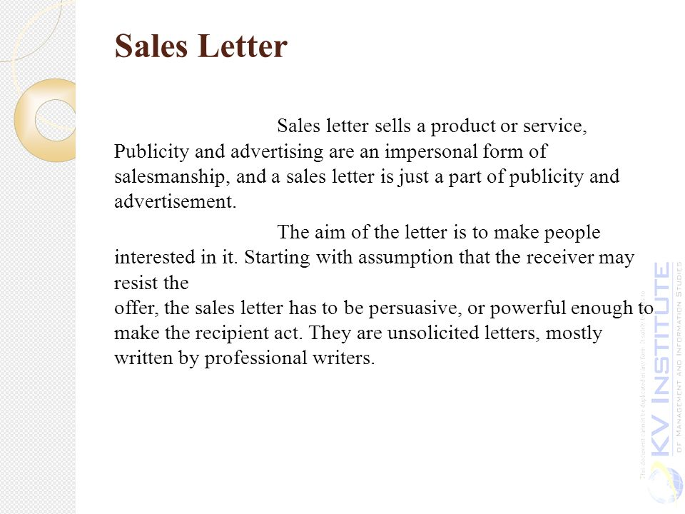 Unit IV ppt download – Sales Letter for Product