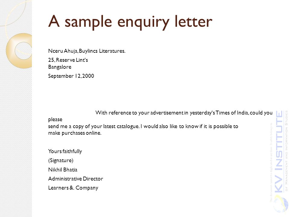 A Sample Enquiry Letter  Purchase Inquiry Letter