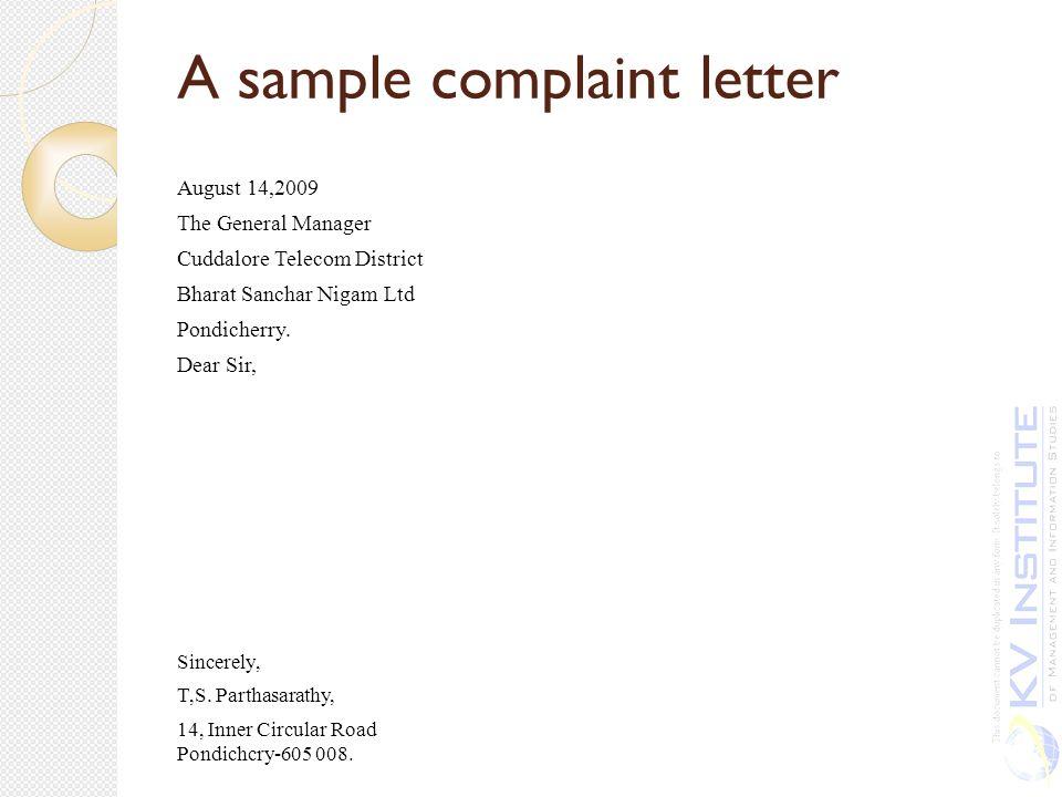 Unit IV ppt download – Sample Complaint Letter
