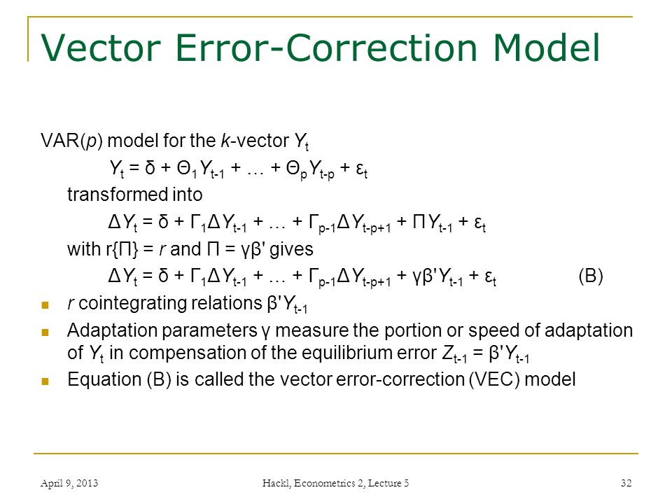 error correction model Vector error-correction models  this example illustrates the use of a vector error-correction (vec) model as a linear alternative to the smets-wouters dynamic.
