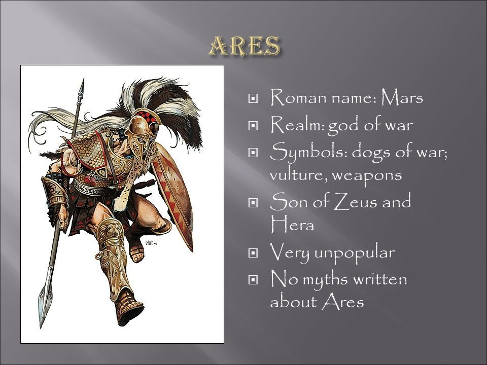 Ares Roman name: Mars Realm: god of war