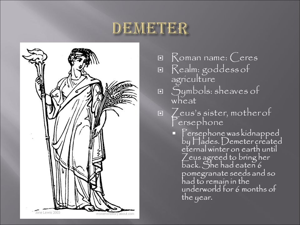Demeter Roman name: Ceres Realm: goddess of agriculture